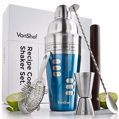 VonShef Stainless Steel Blue Recipe Cocktail Shaker Set, Gift Box & Accessories