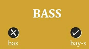The meaning of Bass considered here is the one related to Music.   Here the word should be pronounced similar to 'Base'.