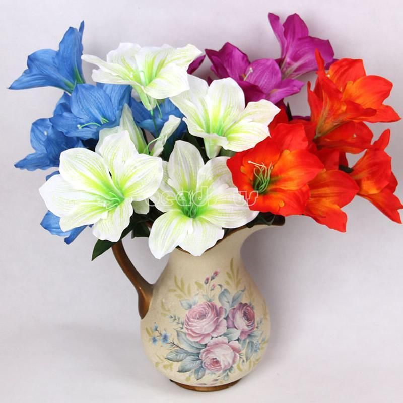 2pcs Artificial Silk Flower Fake Lilies Bridal Wedding Bouquet Home Decor Gift
