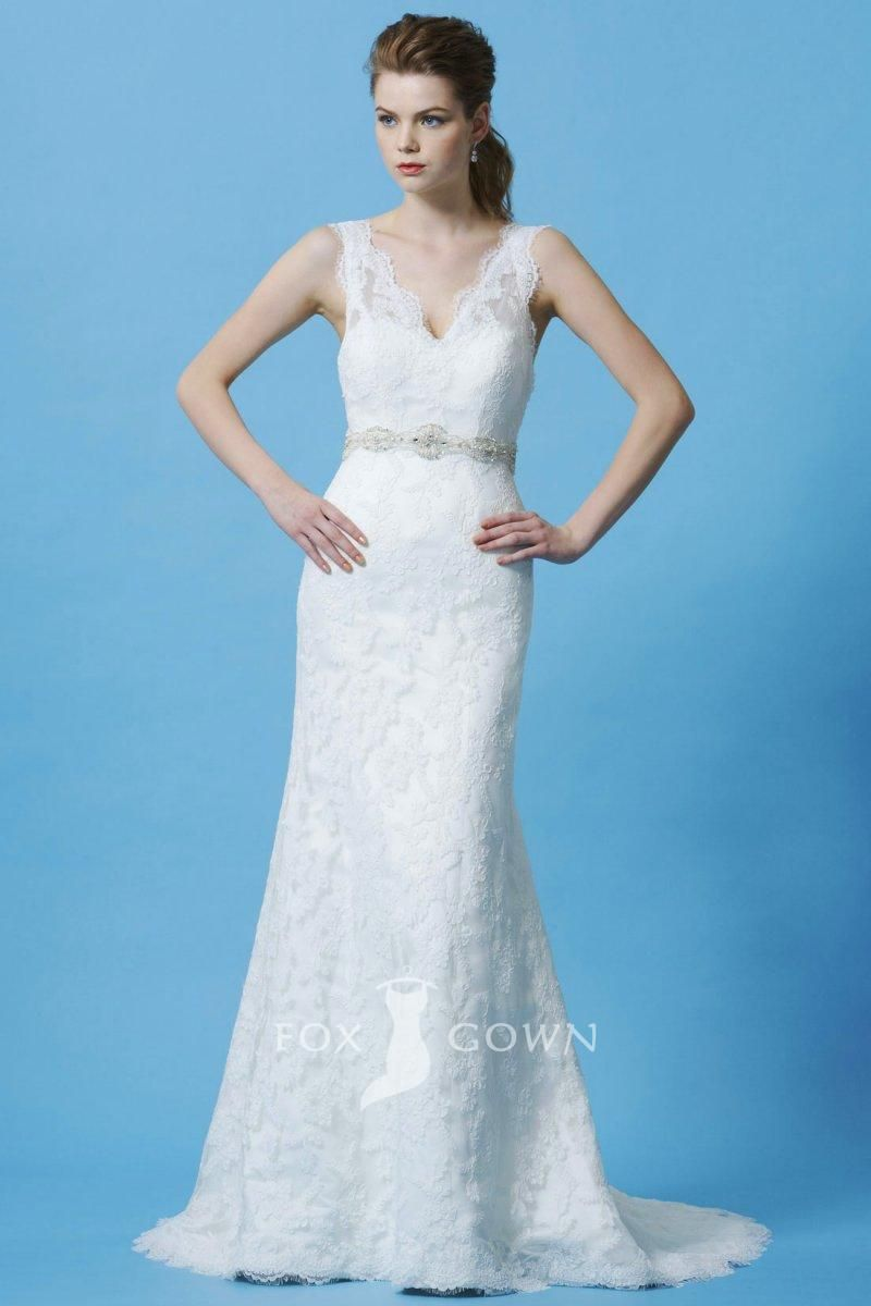 junoesque lace sleeveless scalloped v-neck sheath wedding dress ...