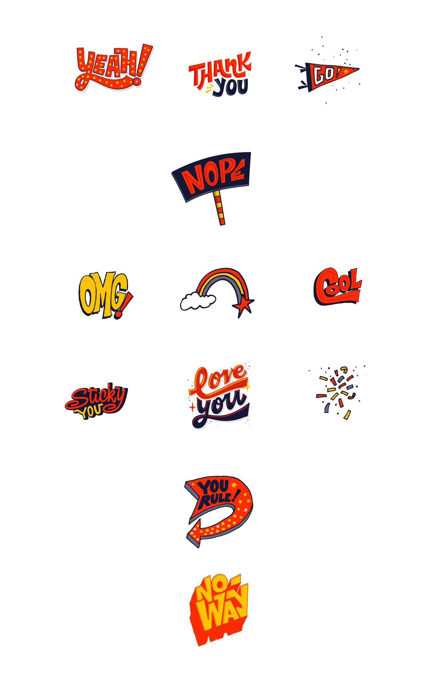 Bla Bla iMessage Stickers on Behance 插画, 画