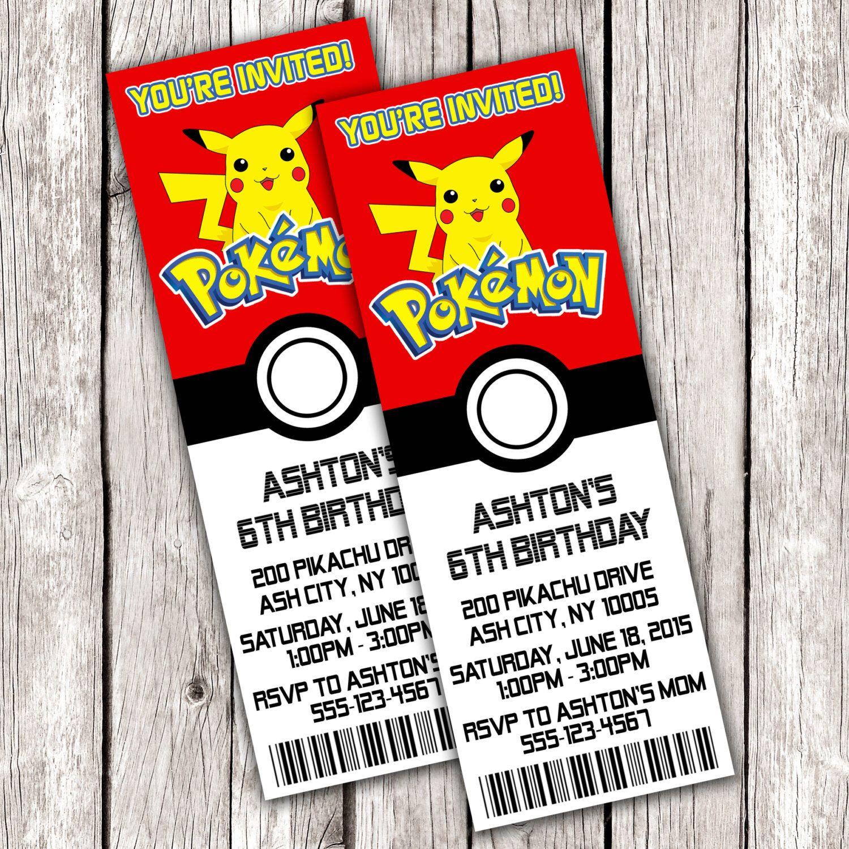 Pokemon Ticket Invitation Pokemon Birthday Party DIY Printable
