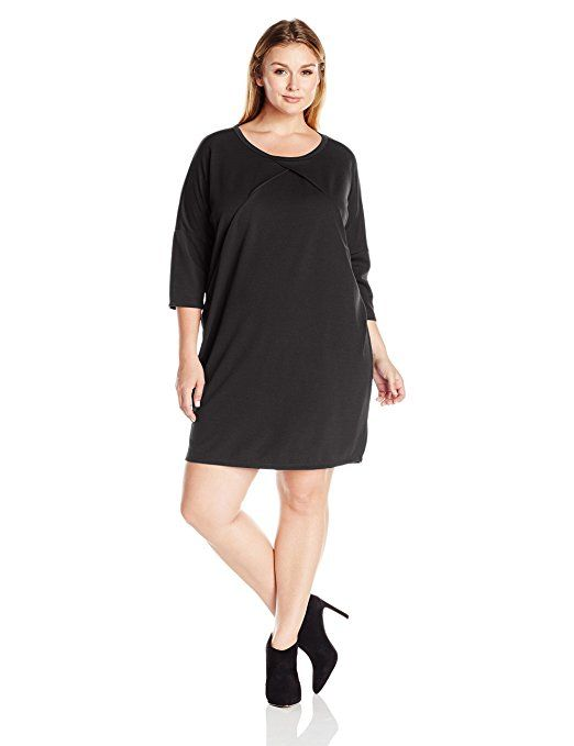 Plus Size Everly Elbow Sleeve Loose Dress, Black