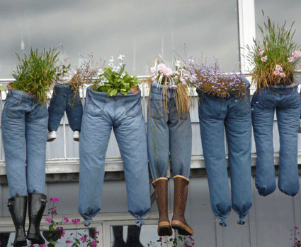 Clothes line planters - I may have to do this with old clothes I don't need but have to get rid of, he he