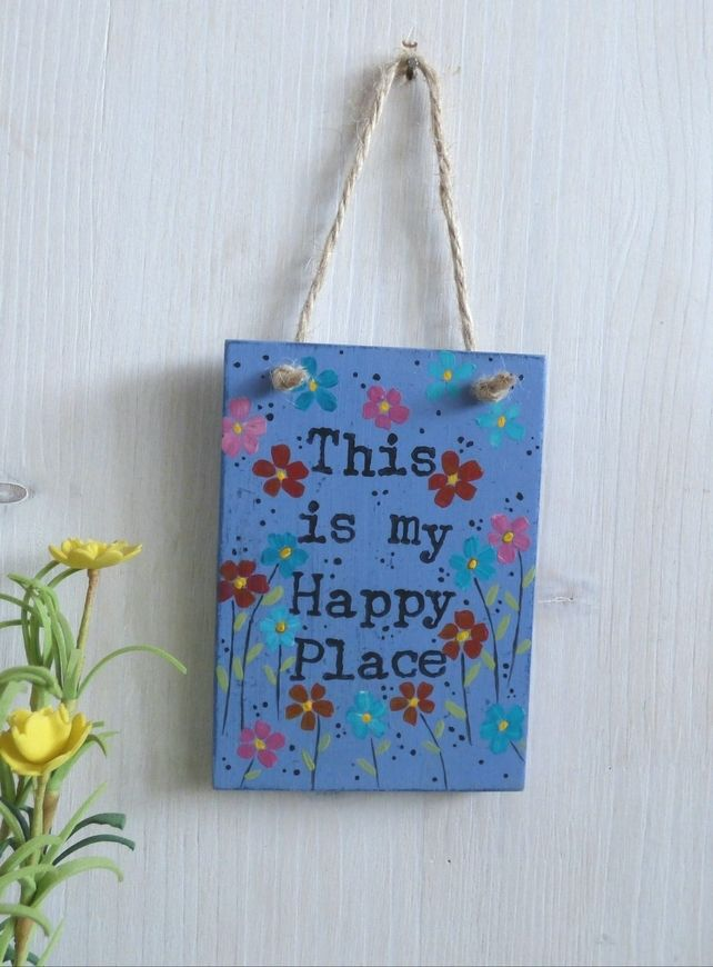This is my Happy Place, Wooden Plaque, Hand Painted, HangingDecoration