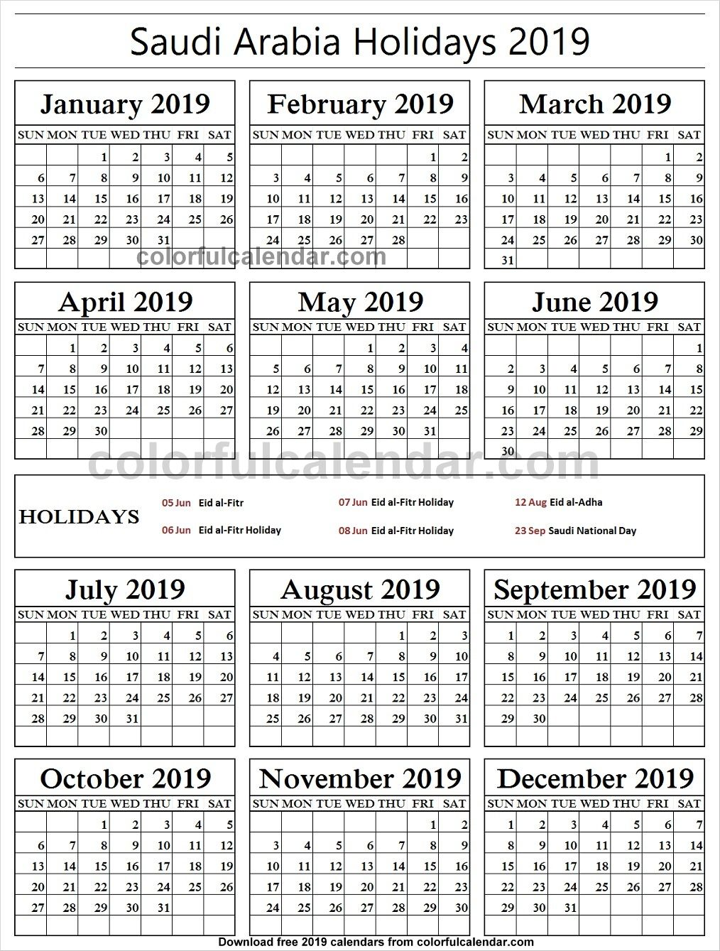 2019 School Holidays Saudi Arabia Calendar School Holidays