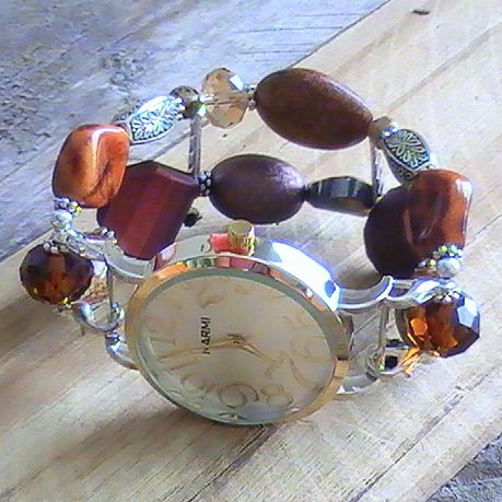 Brown and Silver Beaded, Interchangeable Watch Band, Stretchy, Neutral