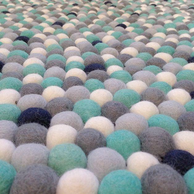 felt ball rug turquoise, light blue, grey, white u0026 navy (less