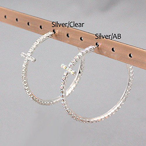"Accessory Accomplice Silvertone Clear Crystal Studded Cross 2"" Hoop Earrings - Jewelry For Her"