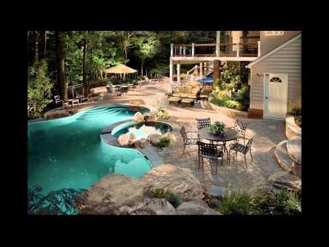 diseño de jardines modernos con piscina. hd-3d. arte y jardinería