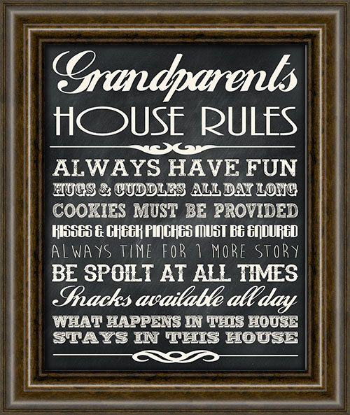 Gifts For Grandparents - Grandparents Rules Sign - Personalized ...