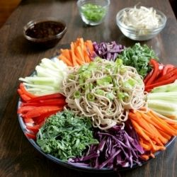 Refreshing cold noodles and vegetables tossed in an flavorful Korean sauce. Delicious and visually stunning!