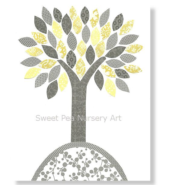 Nursery Tree Print Gray and yellow nursery by SweetPeaNurseryArt, $15.00