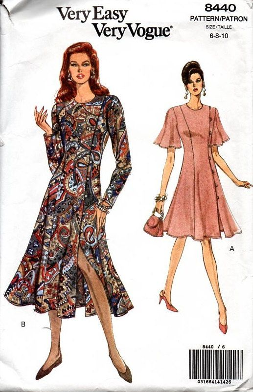 80s Very Easy Vogue Sewing Pattern Business Casual Dress Loose Fit ...