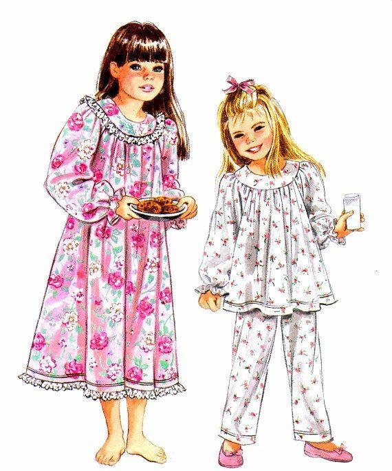 Girls Nightgown Pajamas Sleepwear Pattern by patternshop on Etsy ...