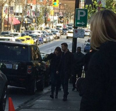 First pics of  Dakota Johnson and Jamie Dornan on set today of Fifty Shades Darker on April, 04 [Source: @boundbygrey @pursuit23 @PUNKD_Images and @JamieDornanorg ].