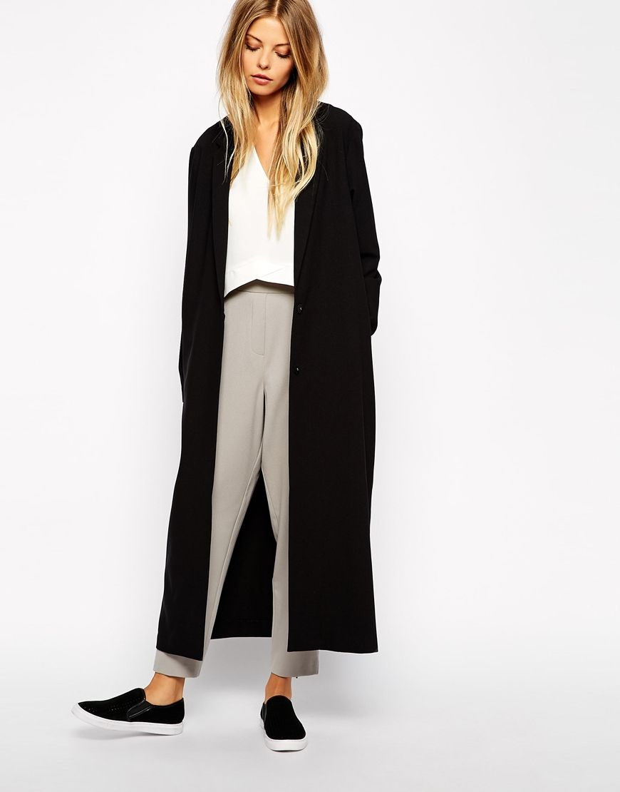 Crepe Duster Jacket in Maxi Length  f5b90c9ebe56