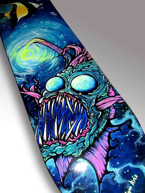 Photo of Angler Fish Painting Skateboard Art | Nautical Decor | Lamp Fish Painting | Deep Sea Fish | Wall Art | Sea Monster | Sea Creature Art |Scuba