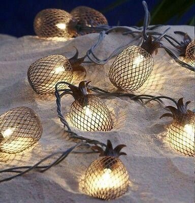Construction String Lights Set Of 10 Metal Pineapple Shaped Lanterns String Lights