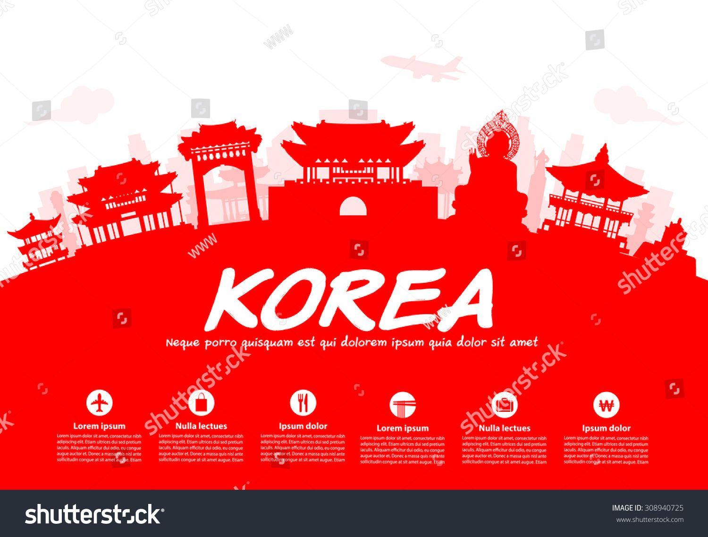 korea travel landmarks vector and illustration korea travel landmarks vector and