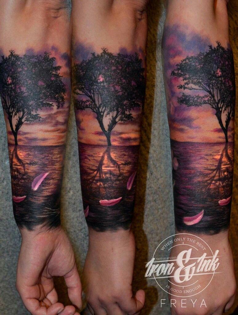 63f2540e835c4 Sunset tattoo realism | Tattoo | Tattoos, Forest tattoos, Tattoos ...