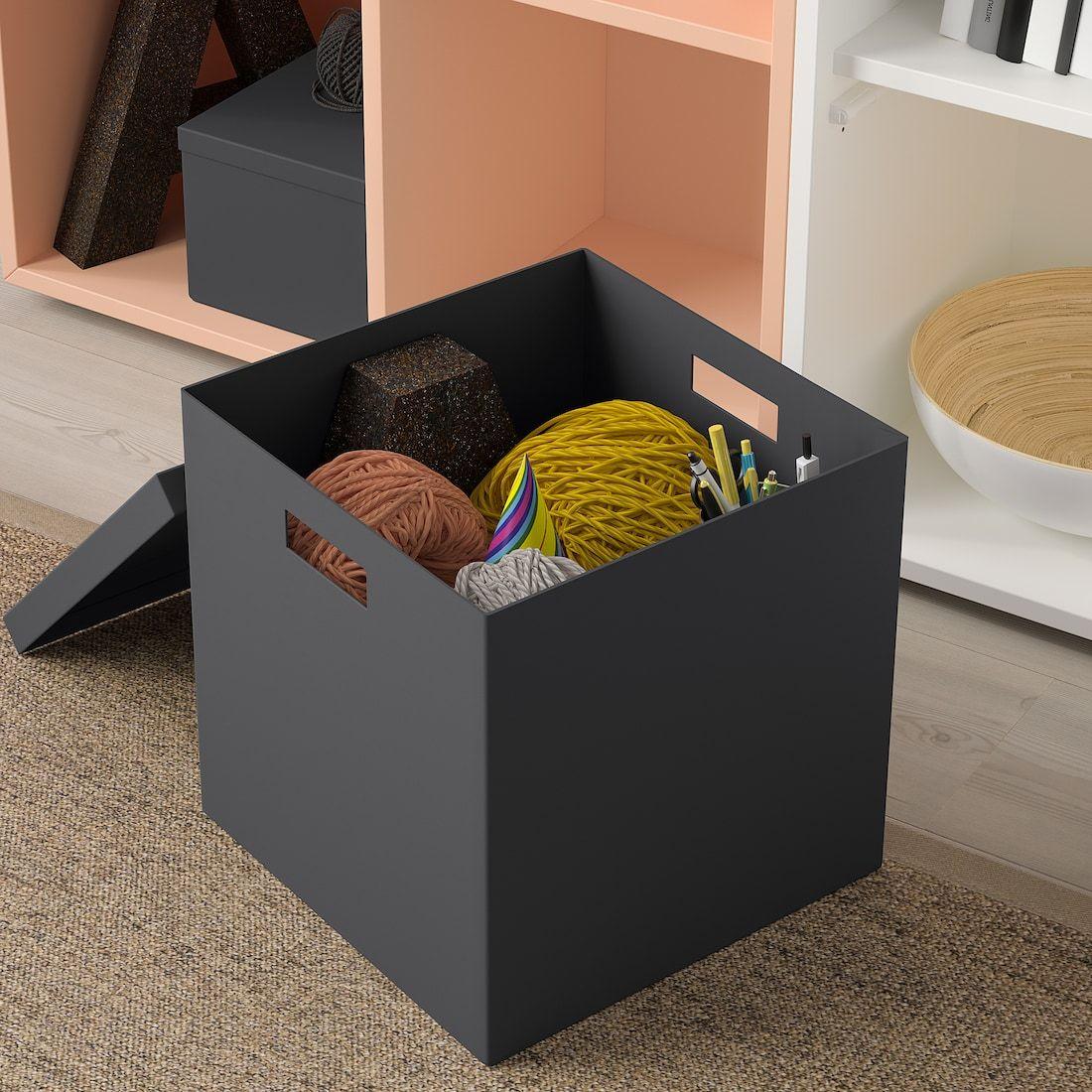 TJENA Storage box with lid black IKEA in 2020