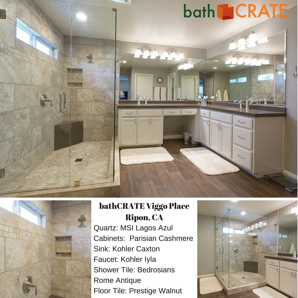 When we saw the final results of this most-recent bathCRATE completion we have to admit, our jaws hit the floor over this master bathroom remodel.  Ripon is home to this delightful confluence of a stunning walk-in shower, vanity with custom quartz top and new simulated-wood tile flooring.