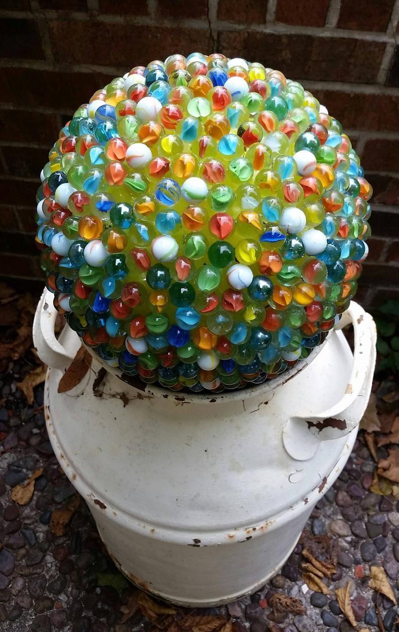 Mosaic Yard Art Marble Art Mosaic Marble Art Yard Art Etsy Marble Art Marble Ball Yard Art
