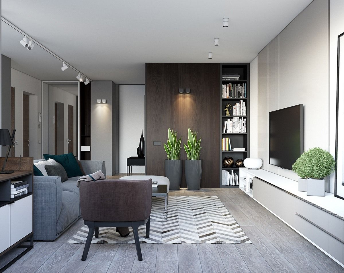 Spacious Looking One Bedroom Apartment With Dark Wood Accents Modern Apartment Decor Small House Interior Design Small Living Room Design