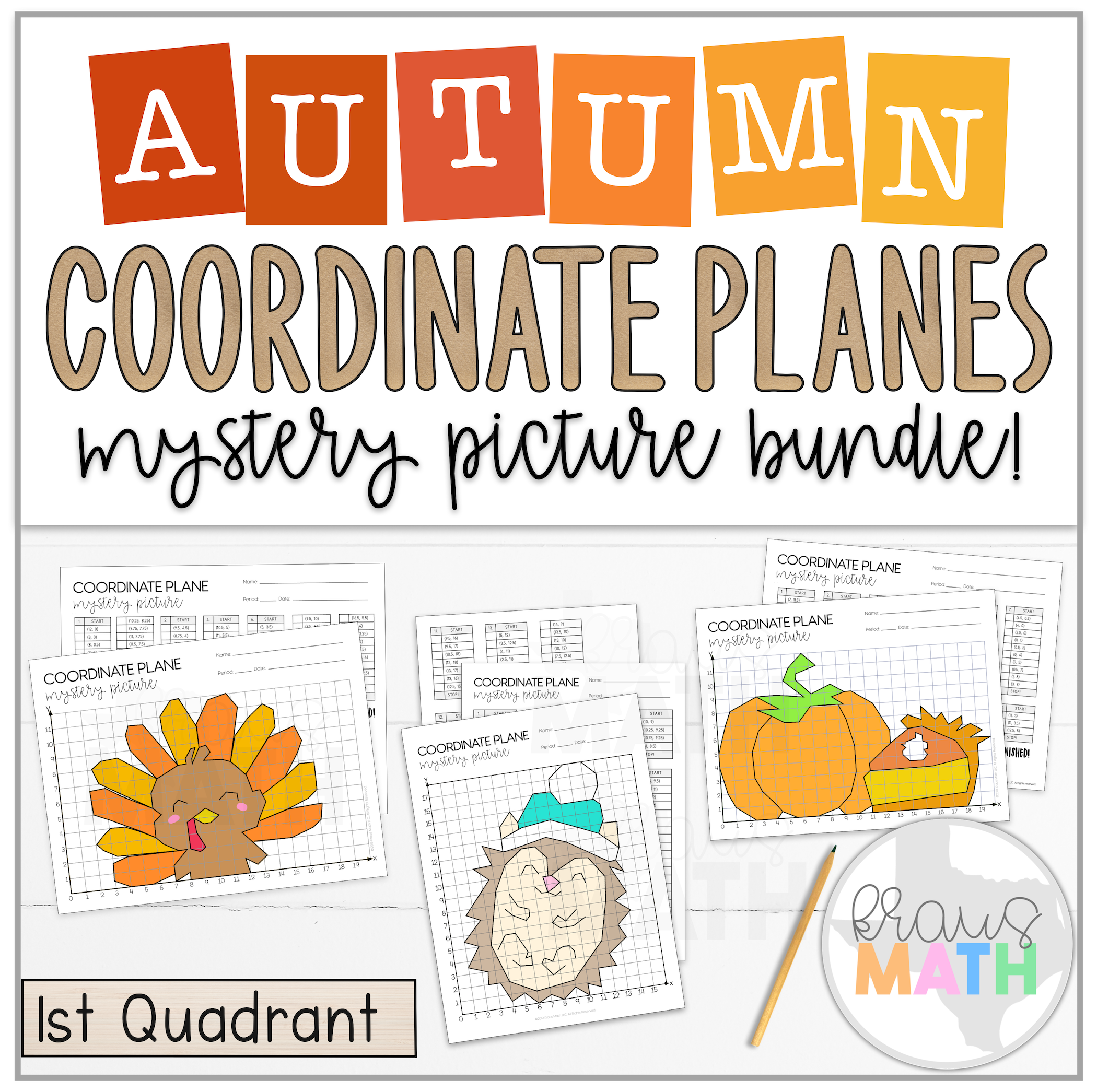 Thanksgiving Amp Fall Coordinate Plane Bundle 1st Quadrant