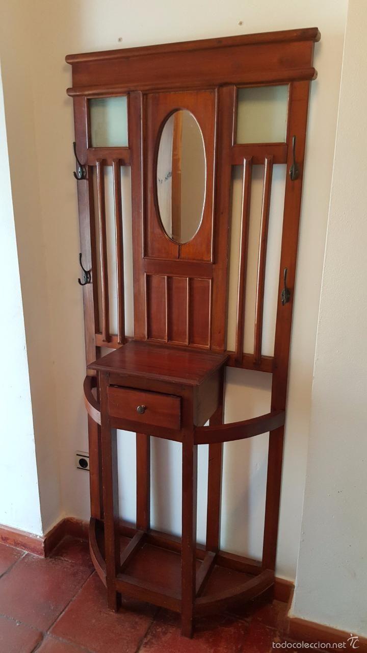 Perchero antiguo mueble de entrada con espejo antig edades muebles antiguos auxiliares - Mueble perchero entrada ...