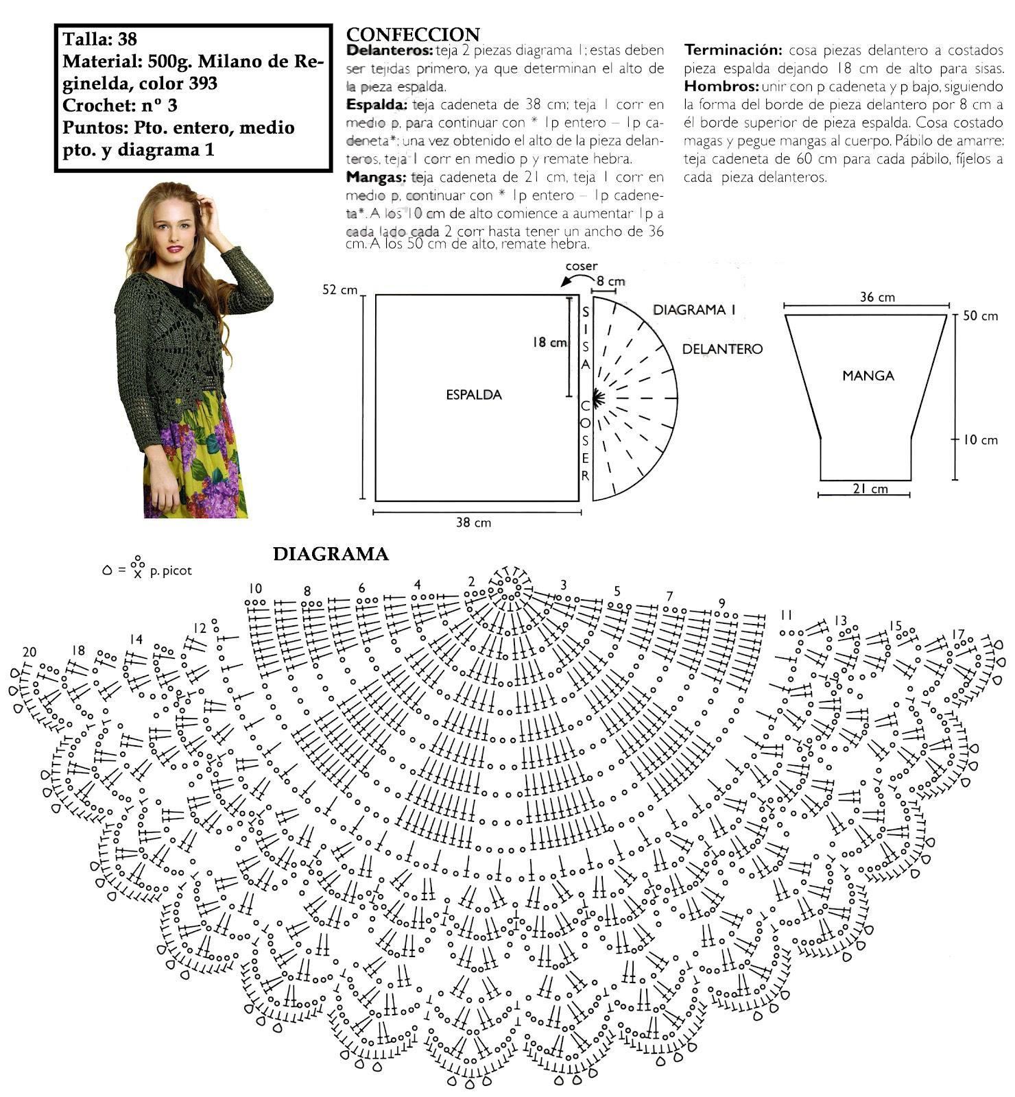 Chaqueta semi circular con mangas patron - Patrones Crochet ...