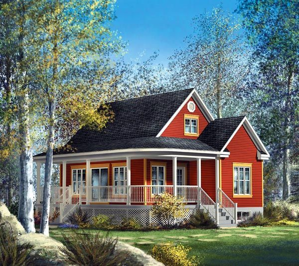 Narrow Lot Style House Plan 49828 With 4 Bed 1 Bath Country
