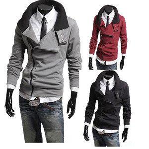 Hot New Fashion Men Sweater Cardigan Coat Jacket Zipper Long Sleeve Slim Fit Z