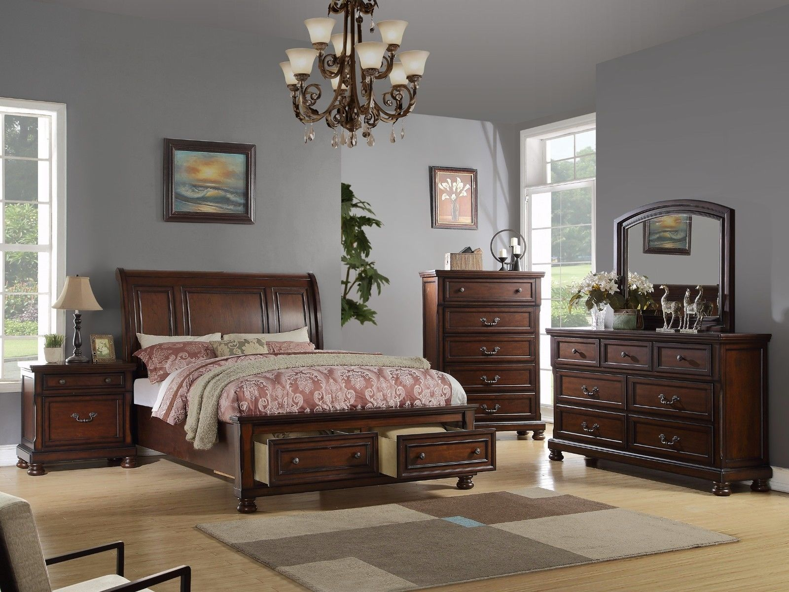 Queen Cal King Est King Bed W Drawers Dresser Mirror NS 4pc Bedroom  Furniture