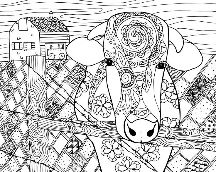 Free Cow Coloring Page For Grown Ups Abstract Coloring Pages