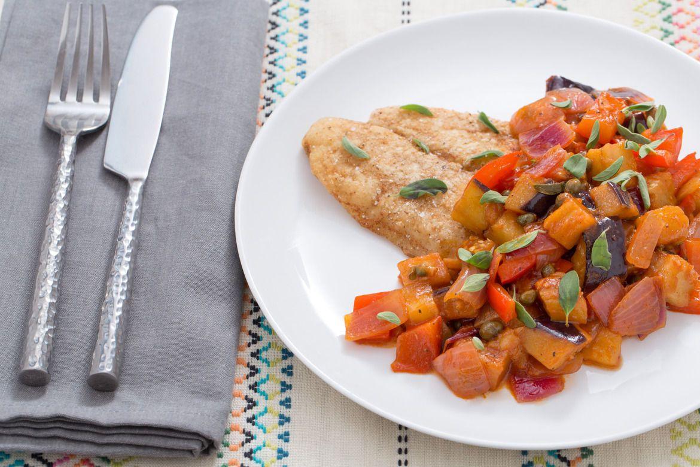 Blue apron catfish - Crispy Catfish With Sicilian Eggplant Caponata Eggplant Caponatablue Aproncatfishhealthy
