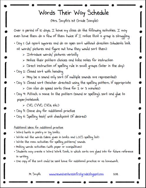 Words Their Way Homework Schedule - image 4