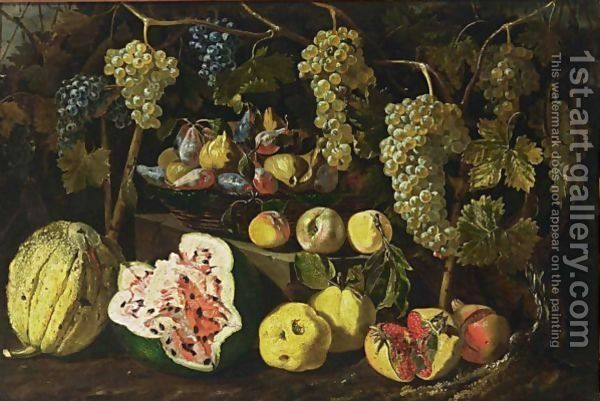 Giovanni Battista Ruoppolo:A Still Life With A Watermelon, A Melon, Pomegranates, Peaches, And Grapes Together With Figs And Plums In A Basket On A Stone Ledge