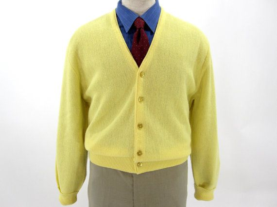Vintage cardigan sweater by Arnold Palmer for Robert Bruce. Light yellow  knit and six button ae251cd66