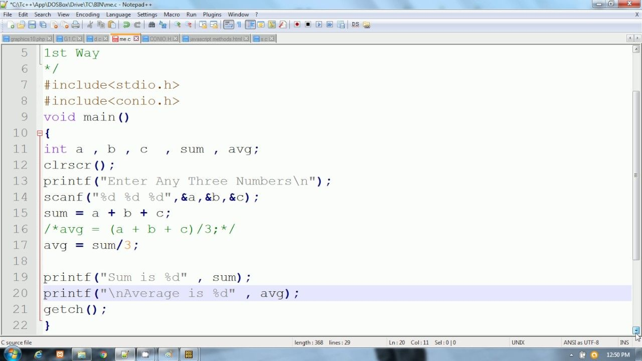C Program To Calculate Sum And Average Of 3 Numbers I Hindi Sum