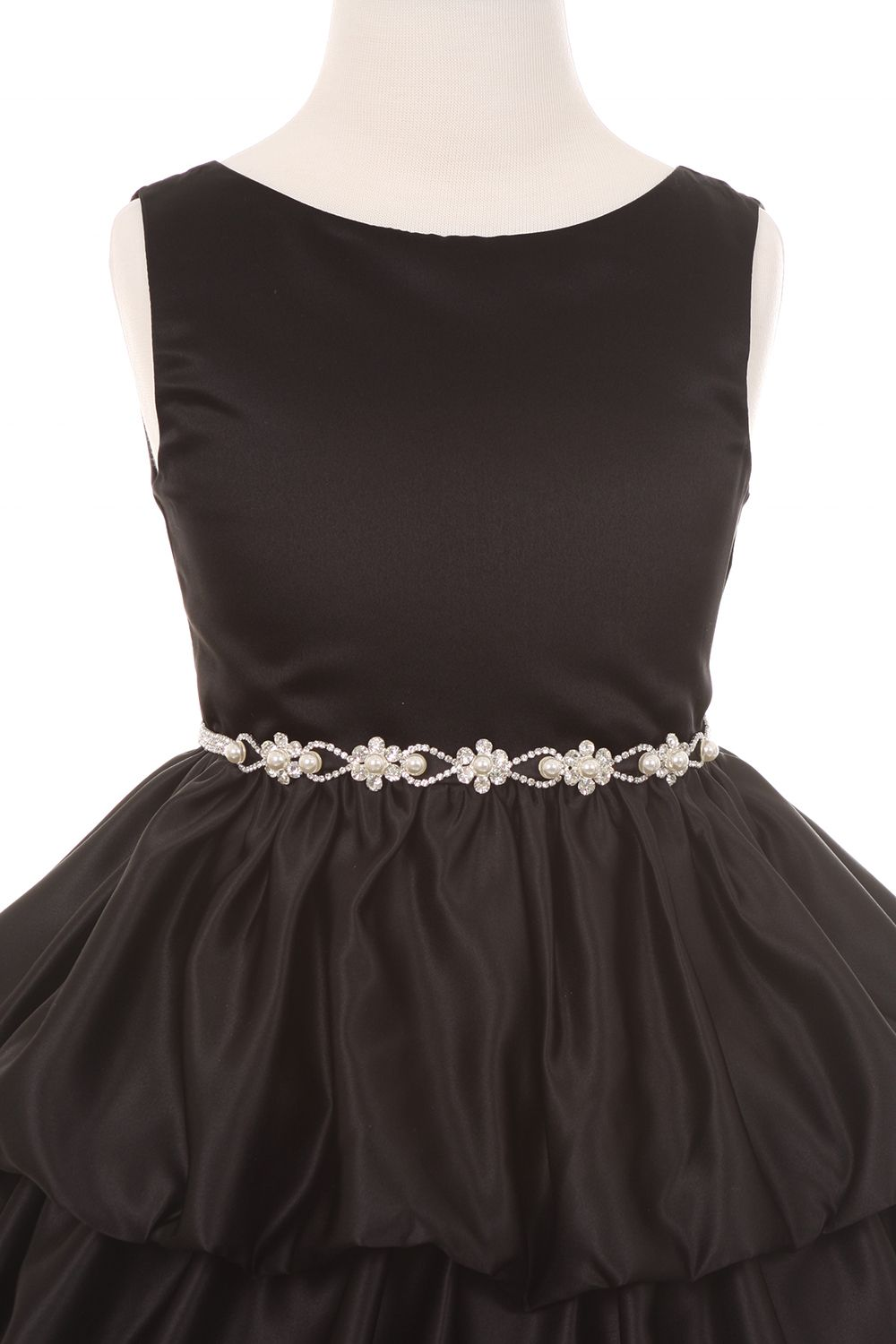 Black layer bubble dress with pearl organza ribbon belt my style