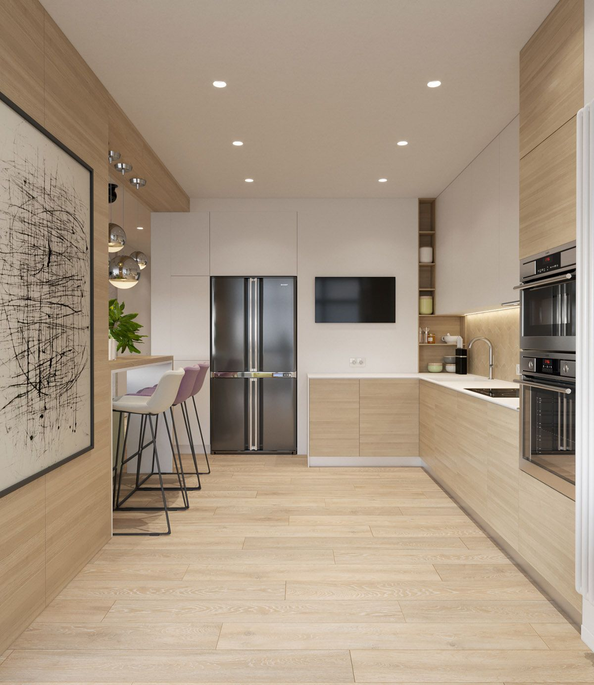 Pastel Accents Over Expansive Light Wood In Two Modern Homes Modern House Design House Design Modern House