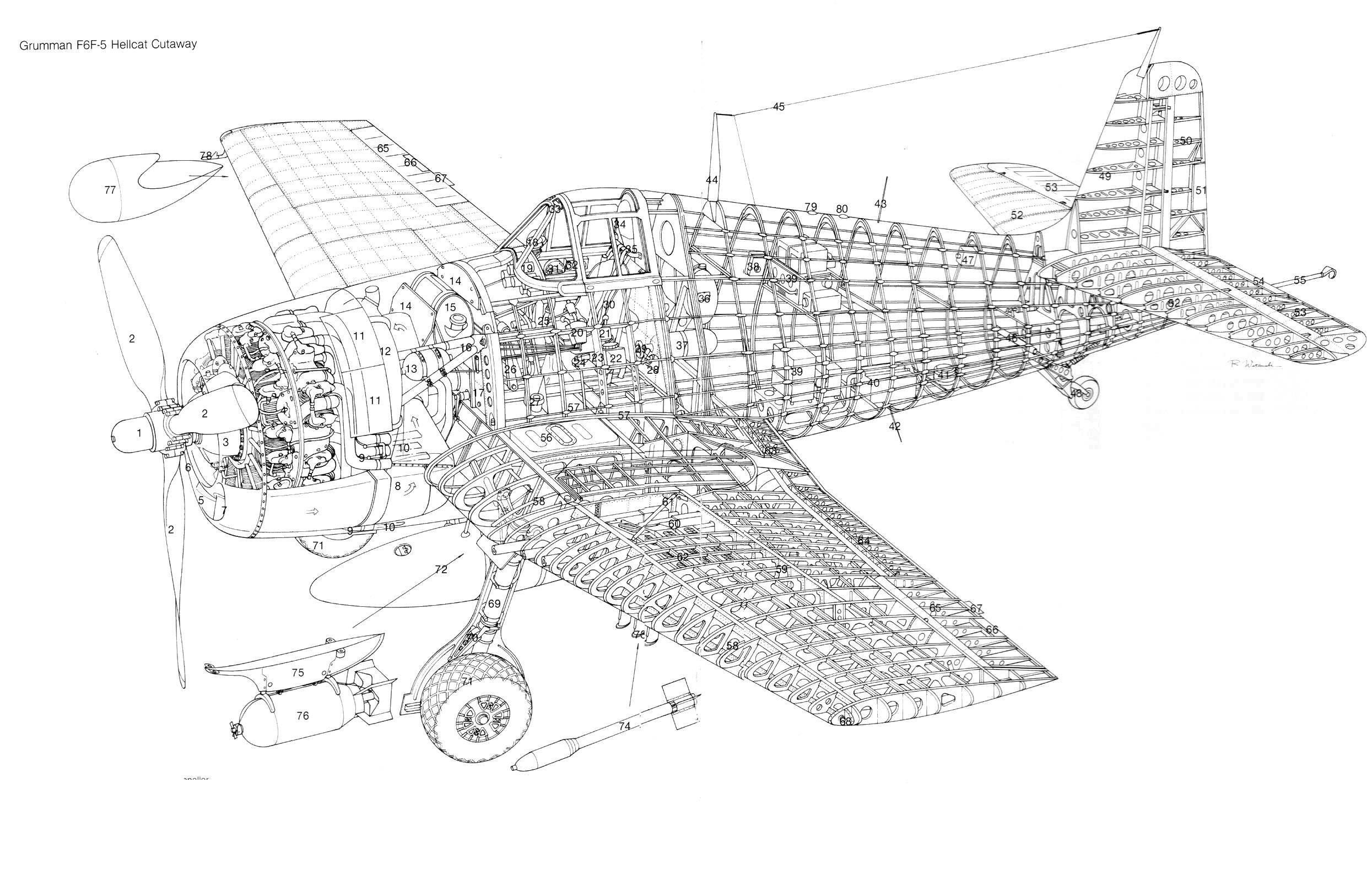 Grumman F6f 5 Hellcat Cutaway