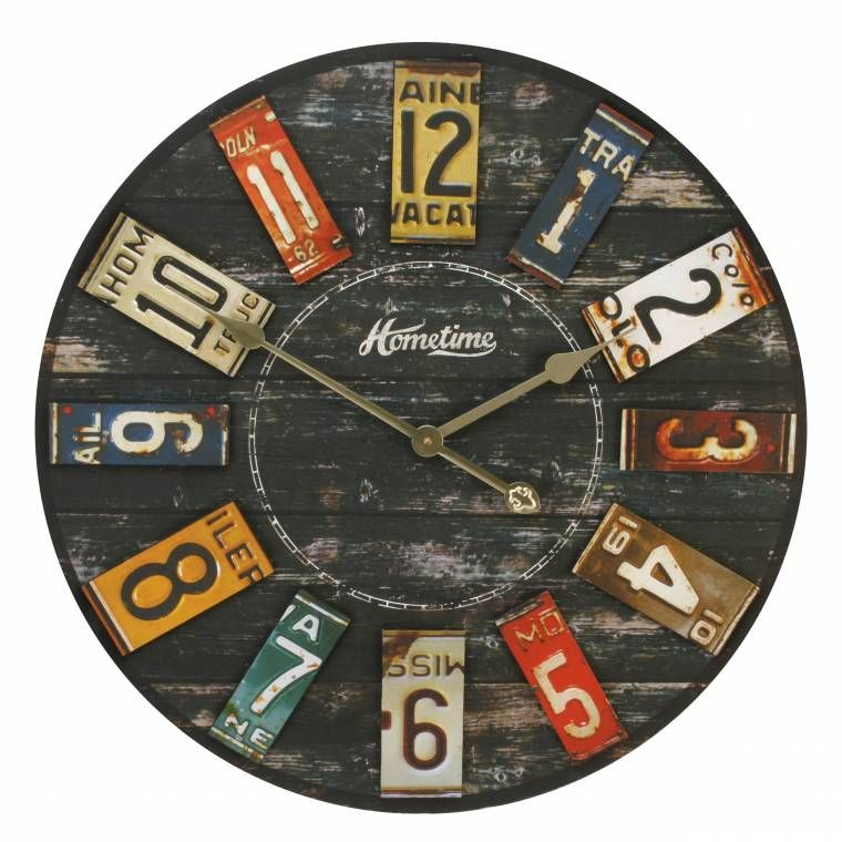 Hometime MDF Wall Clock - US Number Plates | Camera, clocks and ...