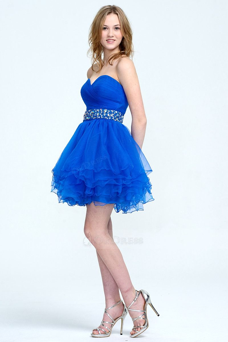Sweetheart alineprincess short royal blue prom dresses by