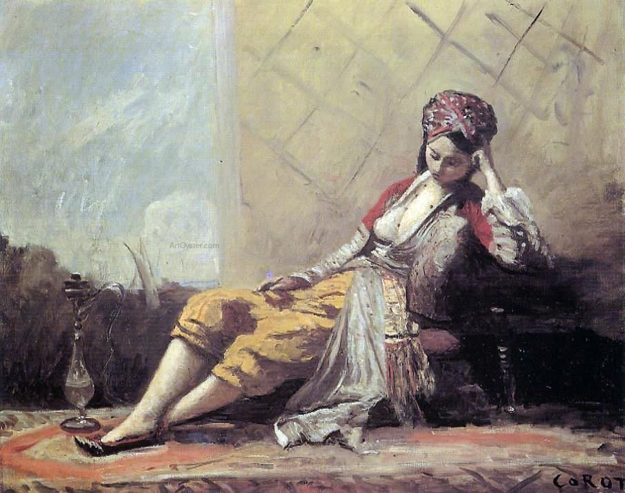 Oil Corot Hand Baptiste Camille Painting By Painted Jean Odalisque UwZ0TxHq