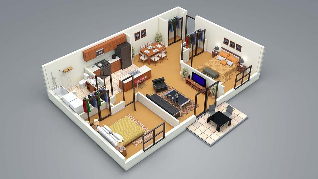 3d Floor Plan 2 Bed 3d Home Design House Design Apartment Design
