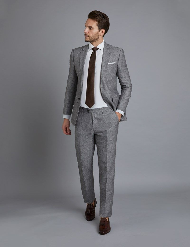 the best attitude c63be 4e57a Men's Grey Linen Slim Fit Suit | Hawes and Curtis | Prom in ...