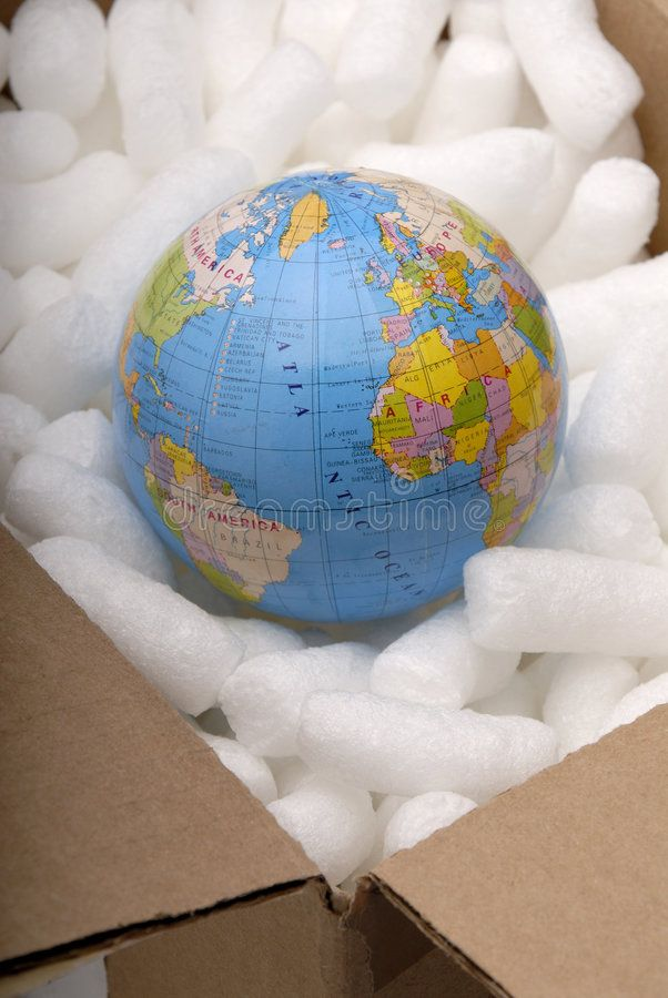 Globe In A Cardboard Box With Protective Packaging Concept For Fragile Environ